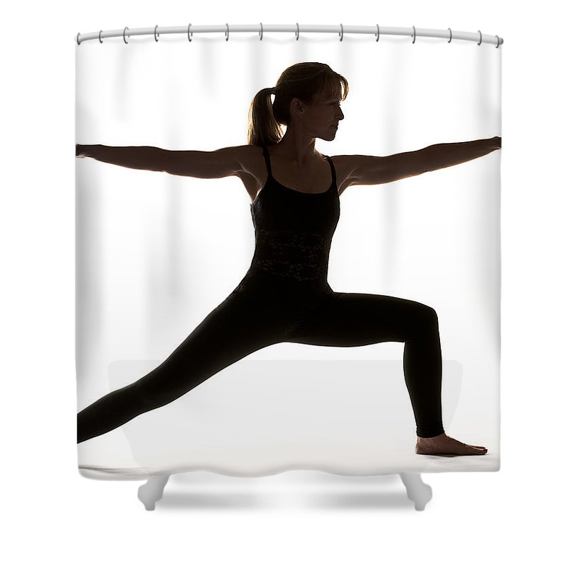 Yoga Shower Curtain featuring the photograph Yoga Pose Warrior II by Steve Williams