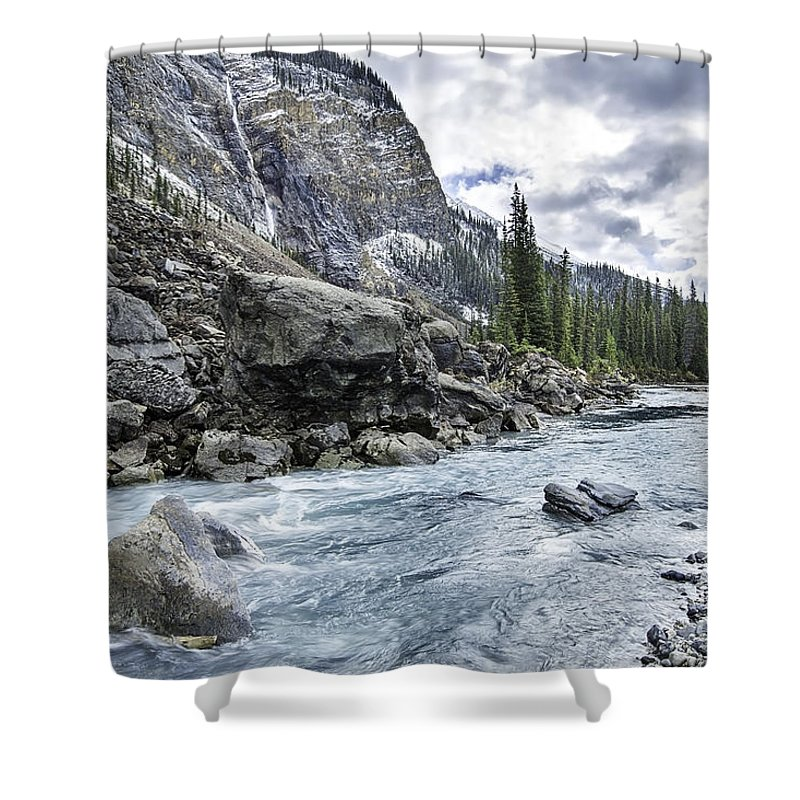 Takakkaw Falls Shower Curtain featuring the photograph Yoho River At Takakkaw Falls by Daryl L Hunter