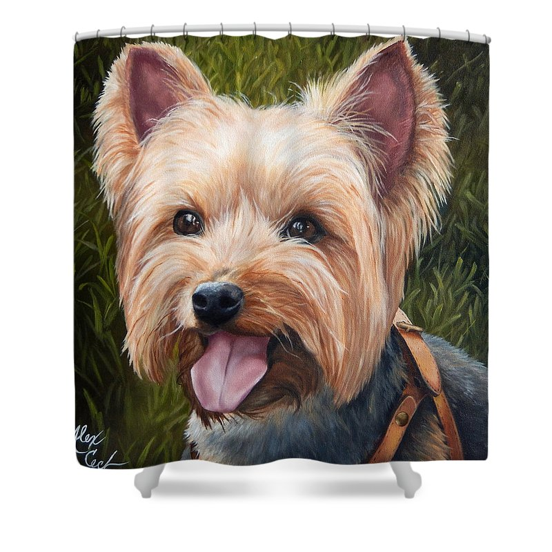 Cute Shower Curtain featuring the painting Yorkie by Alexandra Cech