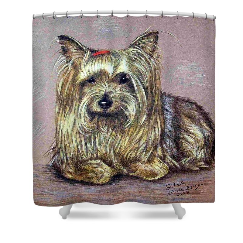 Dog Shower Curtain featuring the drawing Yorkshire Terrier by Nicole Zeug