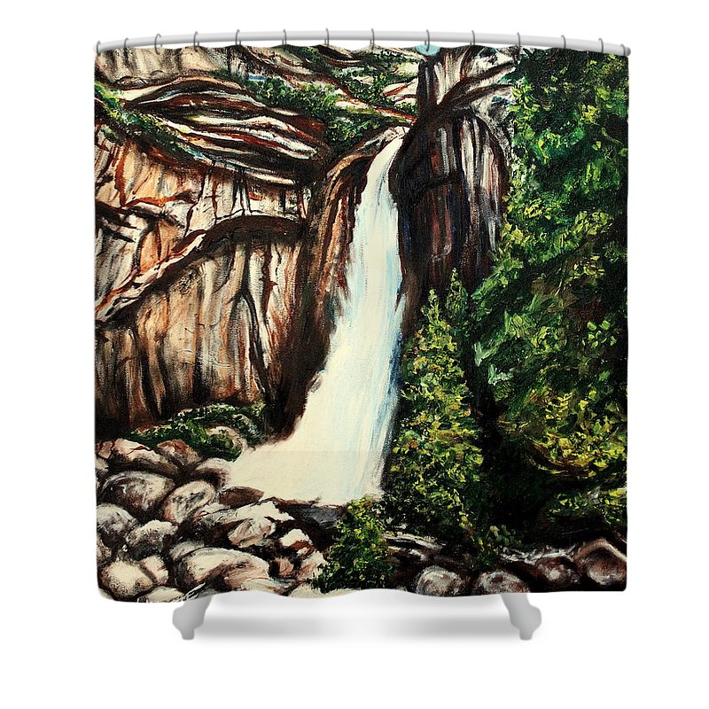 Landscape Shower Curtain featuring the painting Yosemite Falls by Elizabeth Robinette Tyndall