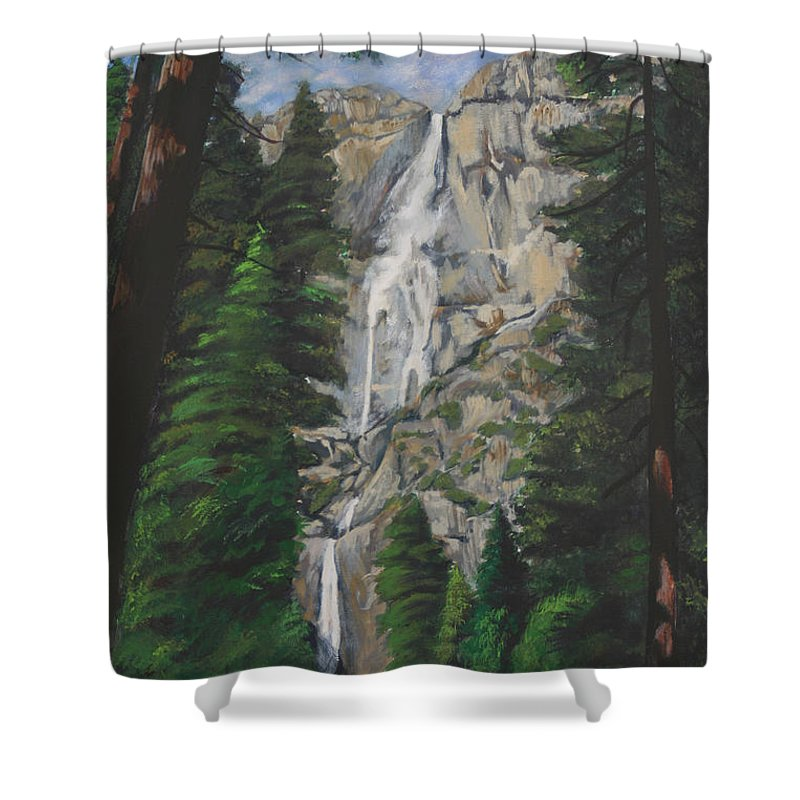 Landscape Shower Curtain featuring the painting Yosemite Falls by Travis Day