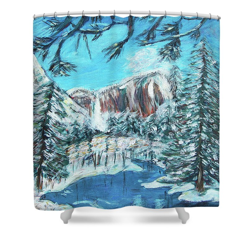 Yosemite Shower Curtain featuring the painting Yosemite In Winter by Carolyn Donnell