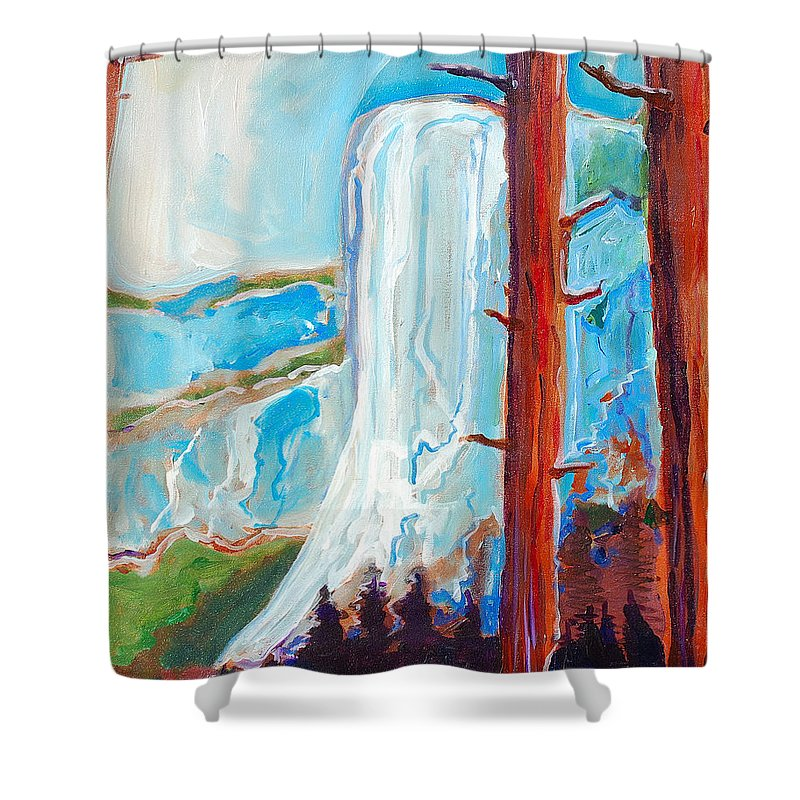 Shower Curtain featuring the painting Yosemite by Kurt Hausmann