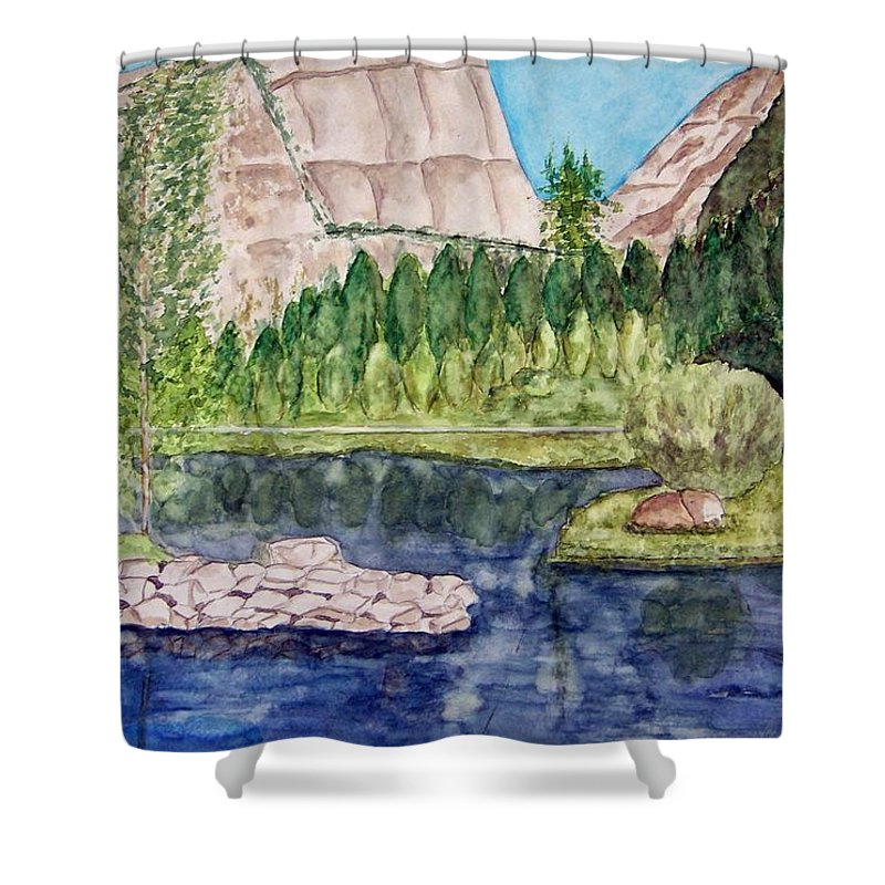 Yosemite National Park Shower Curtain featuring the painting Yosemite by Larry Wright