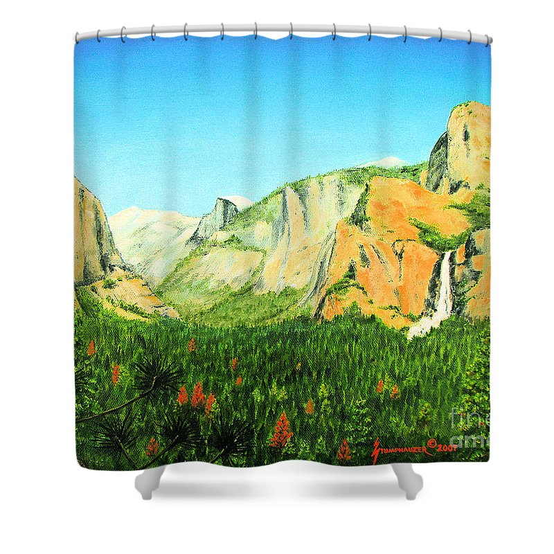 Yosemite National Park Shower Curtain featuring the painting Yosemite National Park by Jerome Stumphauzer