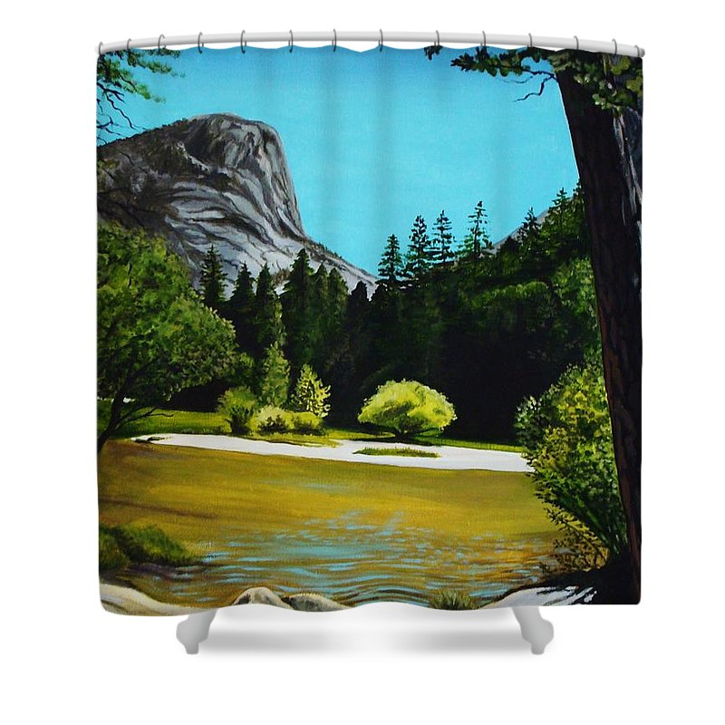 Landscape Shower Curtain featuring the painting Yosemite's Window by Elizabeth Robinette Tyndall