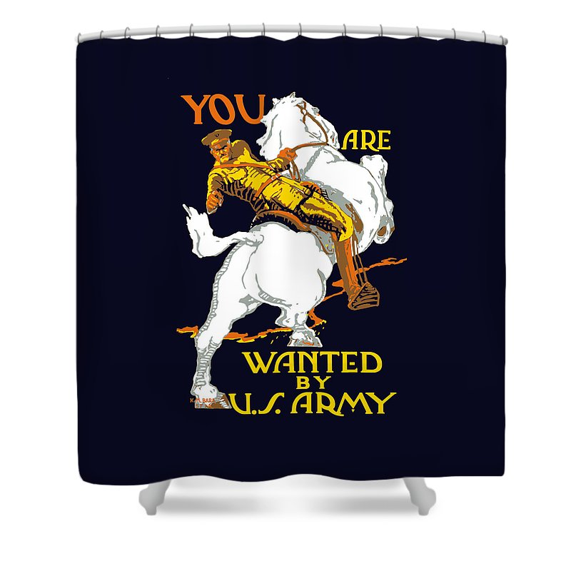 Ww1 Shower Curtain featuring the painting You Are Wanted By Us Army by War Is Hell Store