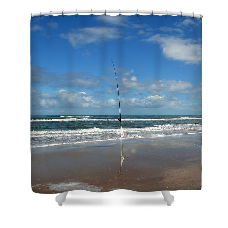 Fish Fishing Vacation Beach Surf Shore Rod Pole Chair Blue Sky Ocean Waves Wave Sun Sunny Bright Shower Curtain featuring the photograph You Could Have Been There by Andrei Shliakhau