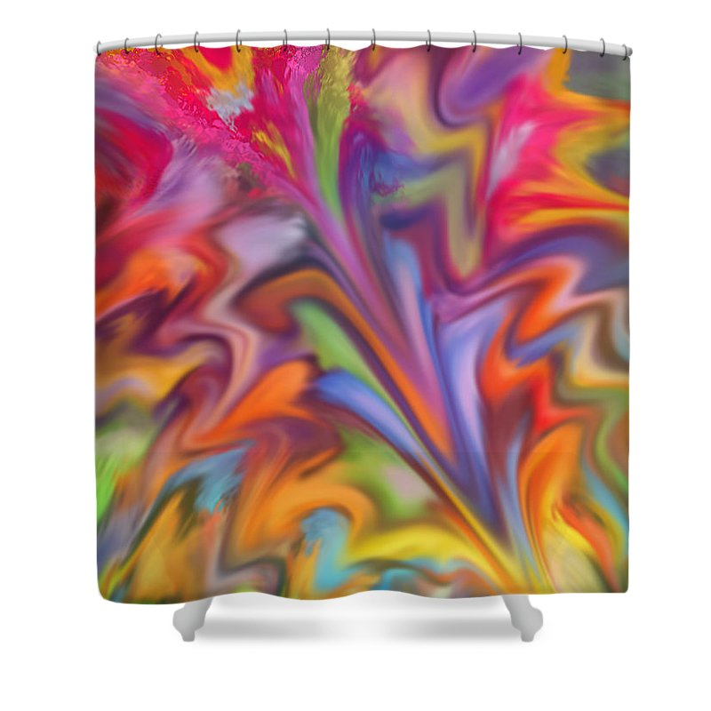 Abstract Shower Curtain featuring the digital art You Got Color by Ian MacDonald