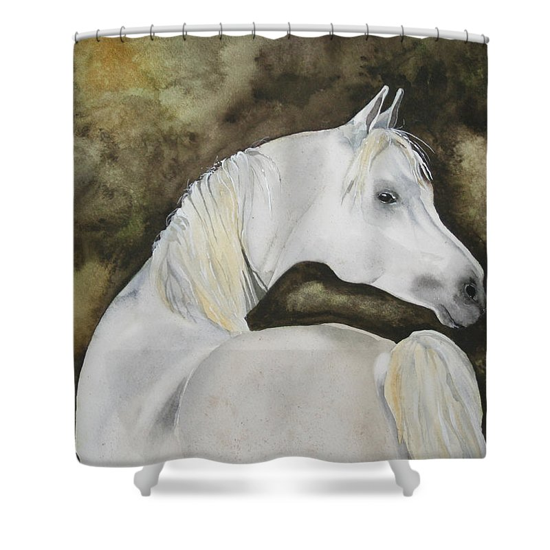 Horse Shower Curtain featuring the painting You Talking To Me by Jean Blackmer