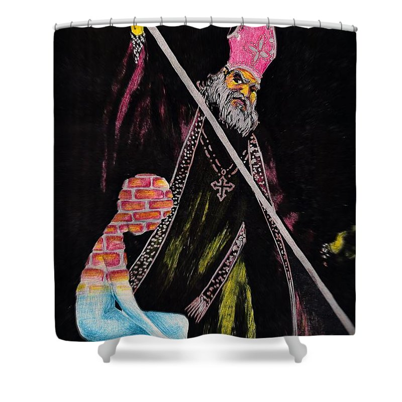 Religion God Salvation Darkness Control Lies Shower Curtain featuring the mixed media You Will Be Saved by Veronica Jackson
