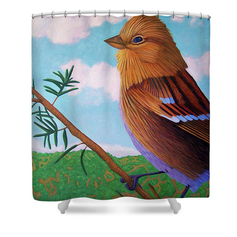 Bird Shower Curtain featuring the painting You You You by Brian Commerford