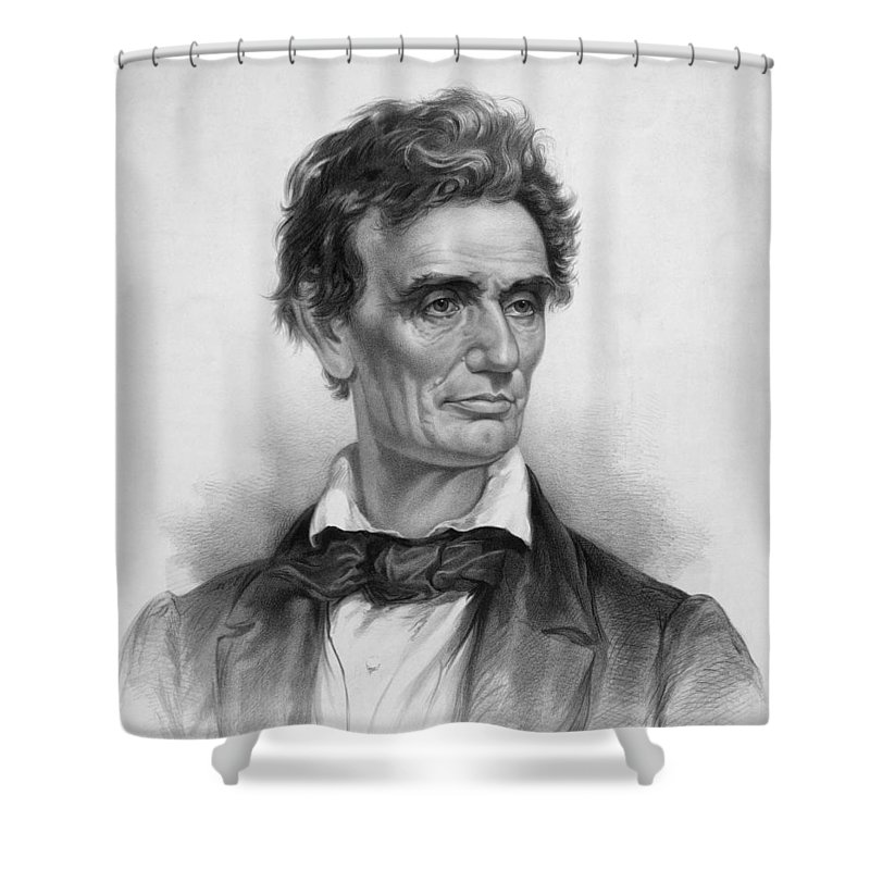 Abraham Lincoln Shower Curtain featuring the drawing Young Abe Lincoln by War Is Hell Store