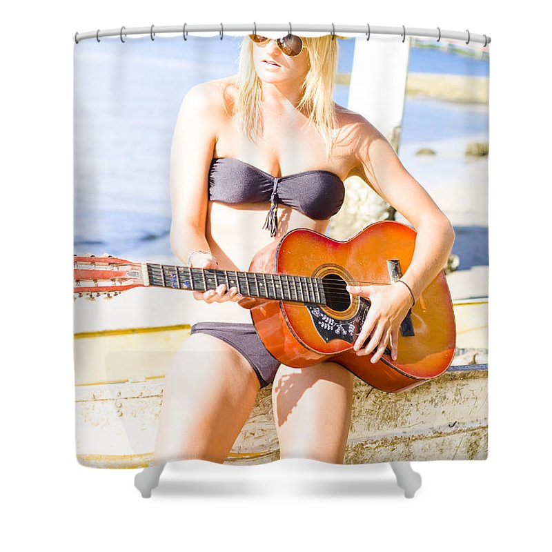 Attractive Shower Curtain featuring the photograph Young Attractive Blonde Woman Playing Guitar by Jorgo Photography - Wall Art Gallery