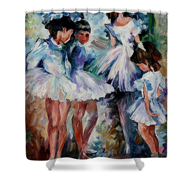 Afremov Shower Curtain featuring the painting Young Ballerinas by Leonid Afremov