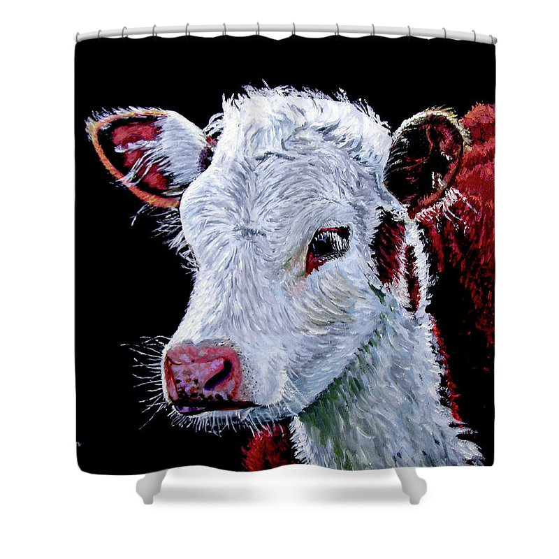 Calf Shower Curtain featuring the painting Young Bull by Stan Hamilton