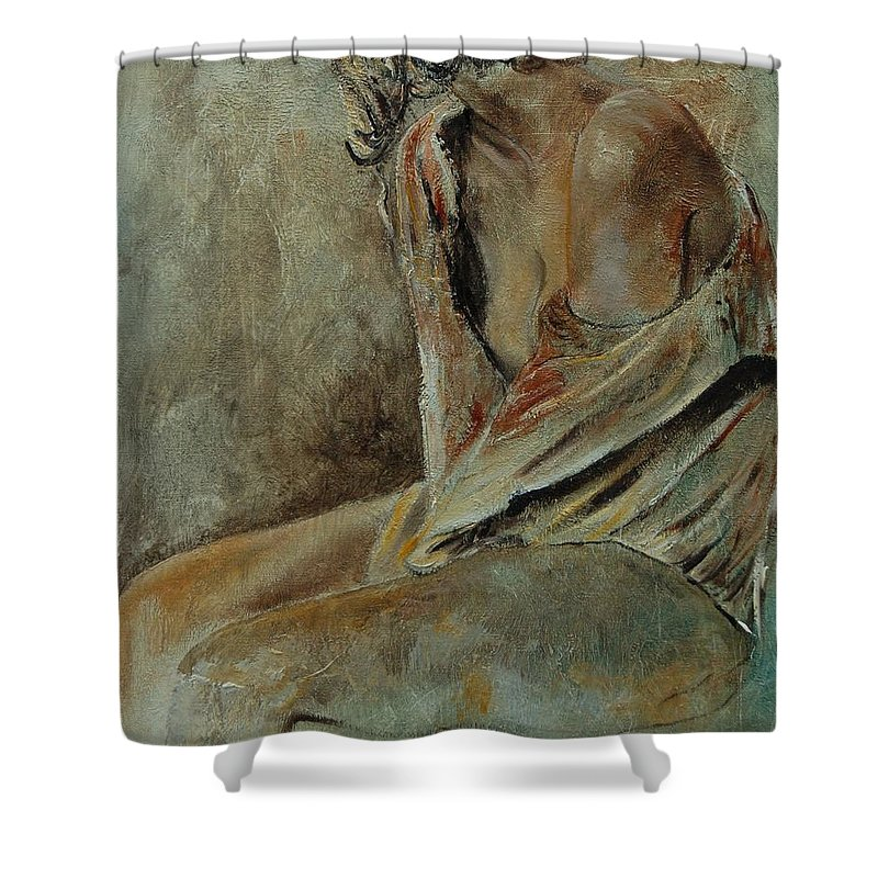 Gir Shower Curtain featuring the painting Young Girl 45905040 by Pol Ledent