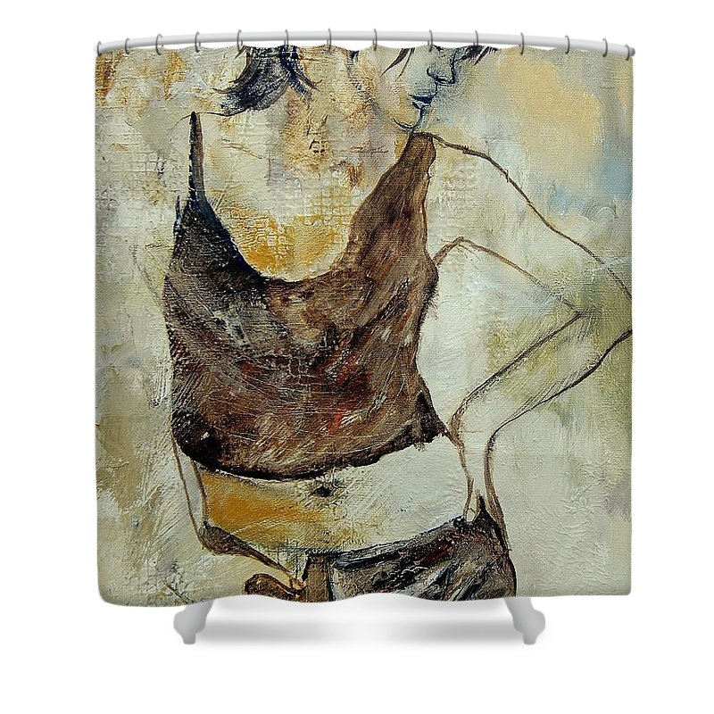 Nude Shower Curtain featuring the painting Young Girl 459070 by Pol Ledent
