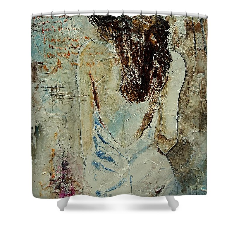 Nude Shower Curtain featuring the painting Young Girl 64 by Pol Ledent