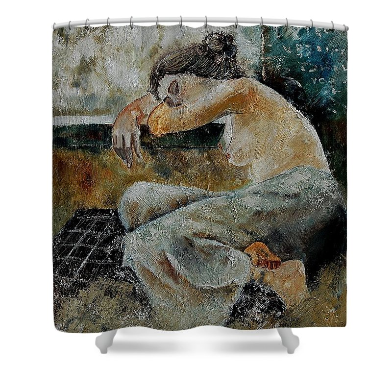 Girl Shower Curtain featuring the painting Young Girl 679050 by Pol Ledent