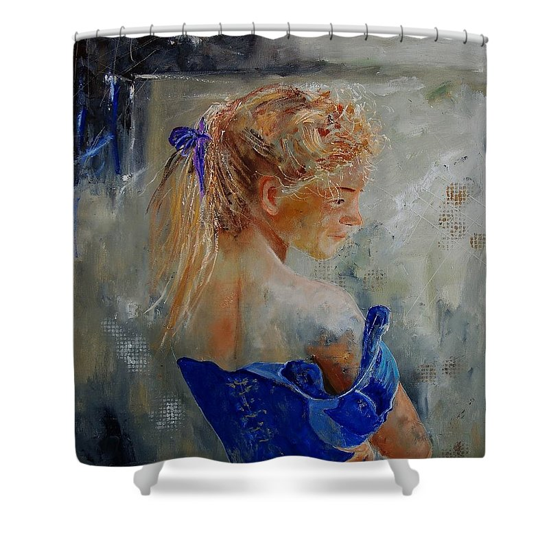 Gir Shower Curtain featuring the painting Young Girl 78 by Pol Ledent