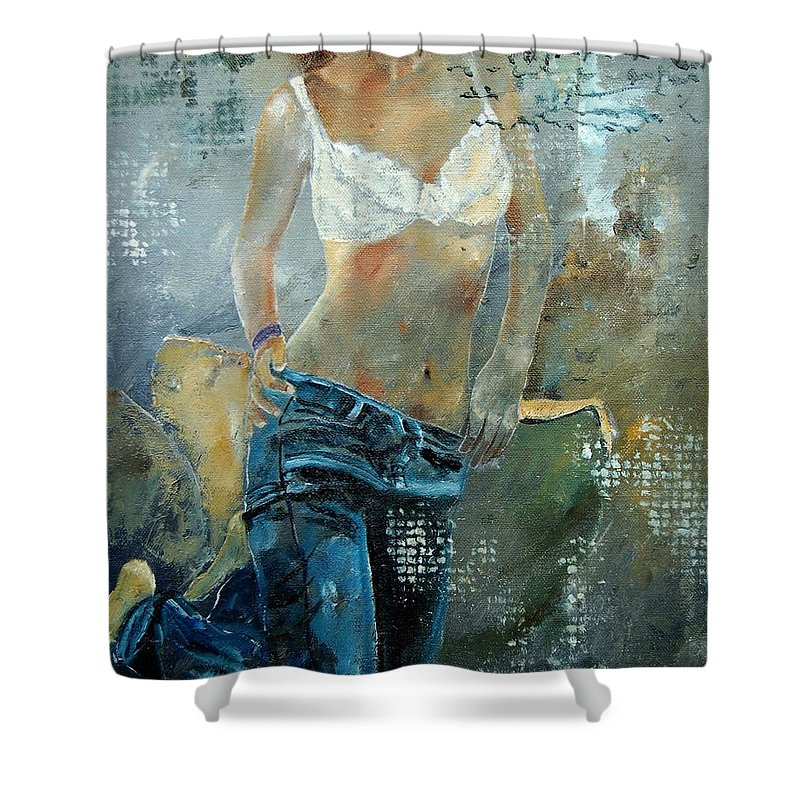 Girl Shower Curtain featuring the painting Young Girl In Jeans by Pol Ledent