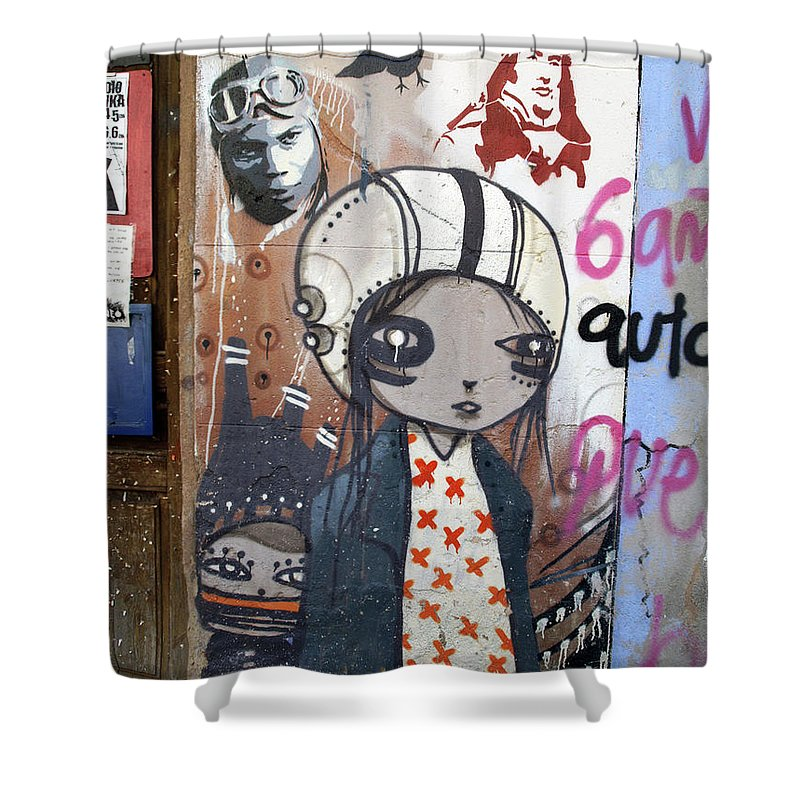 Graffitis Shower Curtain featuring the photograph Young Girl by Roger Muntes