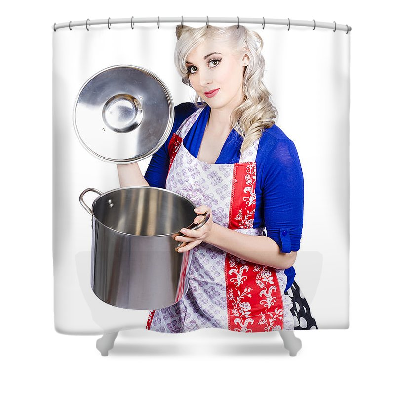 Woman Shower Curtain featuring the photograph Young Housewife Lifting Lid On A Home Cooking Pot by Jorgo Photography - Wall Art Gallery