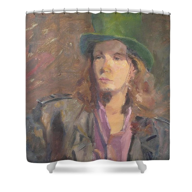 Young Man Irish Green Hat Portrait Figurative Long Hair Coat Shower Curtain featuring the painting Young Irish Man by Irena Jablonski