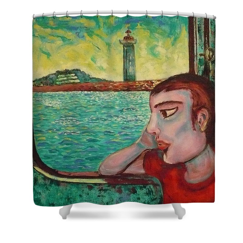 Window Shower Curtain featuring the painting Young Man In A Window by Ericka Herazo