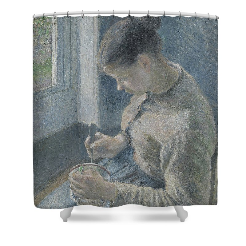 Pissarro Shower Curtain Featuring The Painting Young Peasant Having Her Coffee By Camille