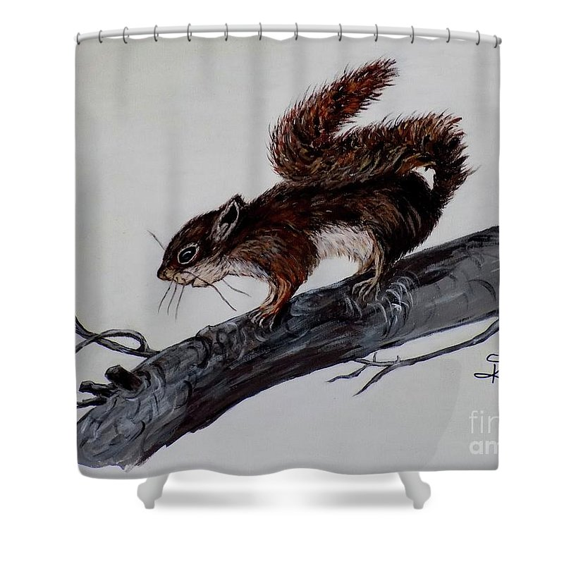 Baby Shower Curtain featuring the painting Young Squirrel by Judy Kirouac