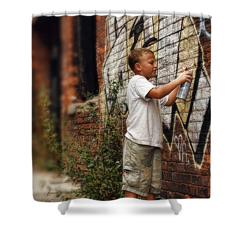 Young Shower Curtain featuring the photograph Young Vandal by Gordon Dean II