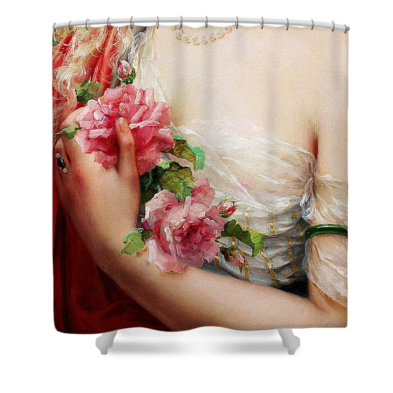 Necklace Shower Curtain Featuring The Painting Young Woman Holding Roses,  Vintage French Painting By Tina