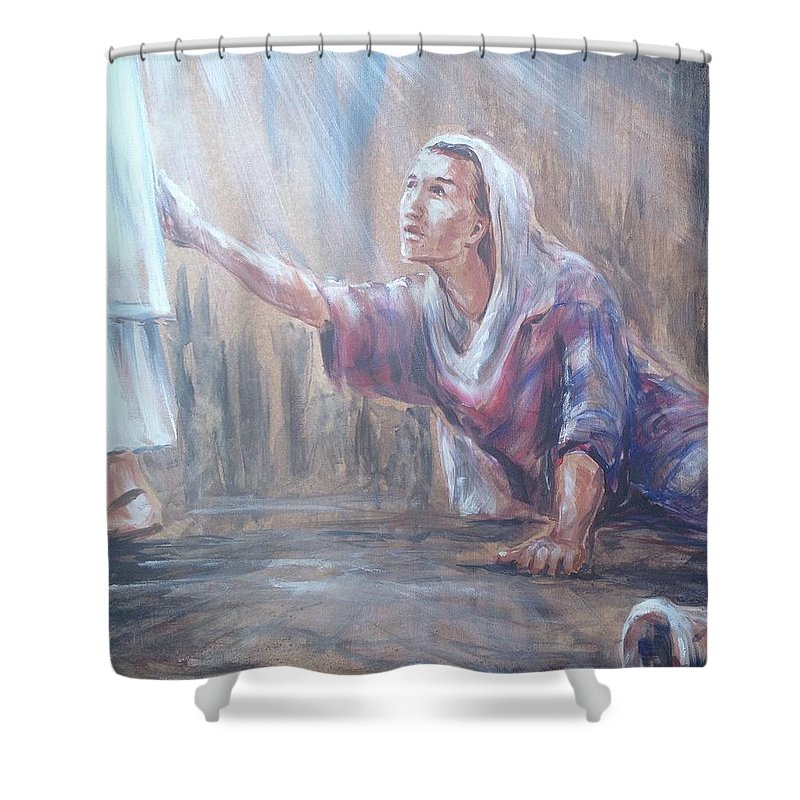 Faith Shower Curtain Featuring The Painting Your Has Healed You Woman Touching Hem Of