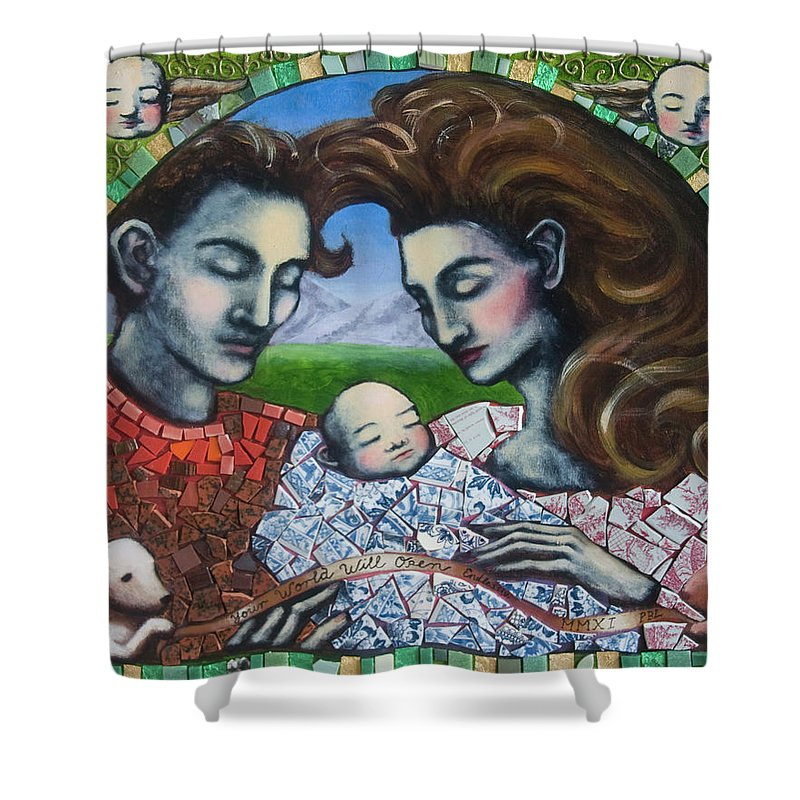 Baby Shower Curtain featuring the painting Your World Will Open Endlessly by Pauline Lim