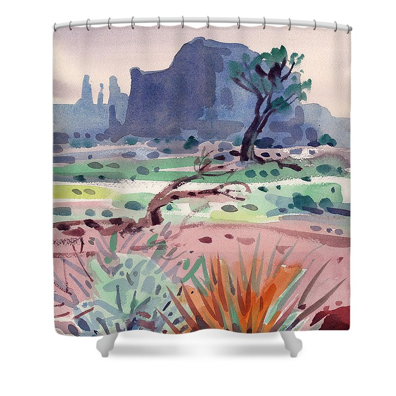 Monument Valley Shower Curtain featuring the painting Yucca And Buttes by Donald Maier