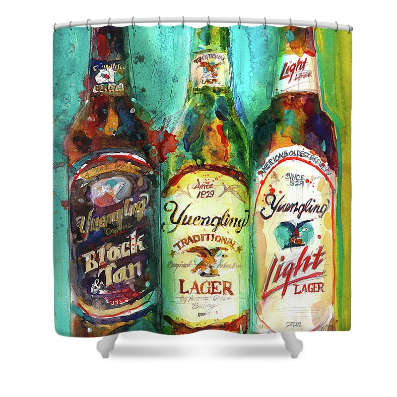 Art Collectibles Shower Curtain Featuring The Painting Yuengling Beers By Dorrie Rifkin