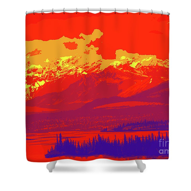Yukon Mountain Range 4 Shower Curtain featuring the digital art Yukon Mountain Range 4 by Chris Taggart