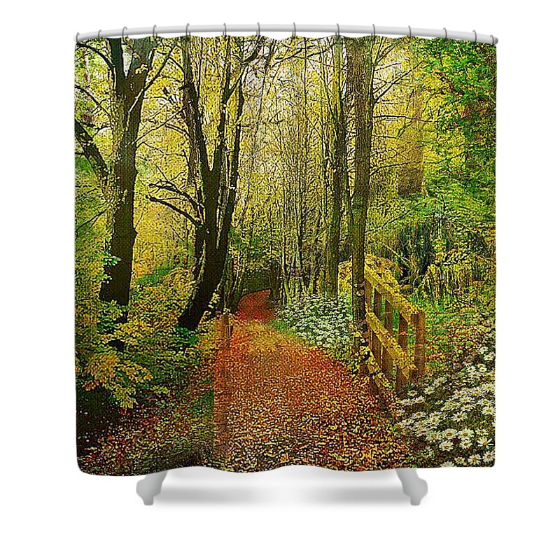 Zac Shower Curtain featuring the mixed media Zac's Fav Walk by Clive Littin