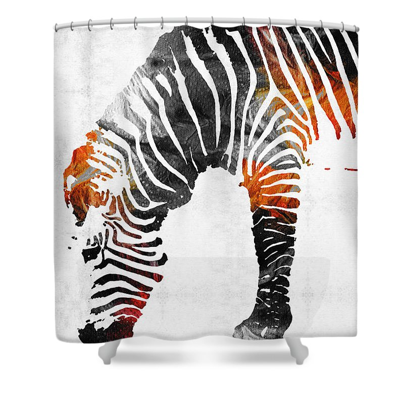 Zebra shower curtain featuring the painting zebra black white and red orange by sharon cummings by