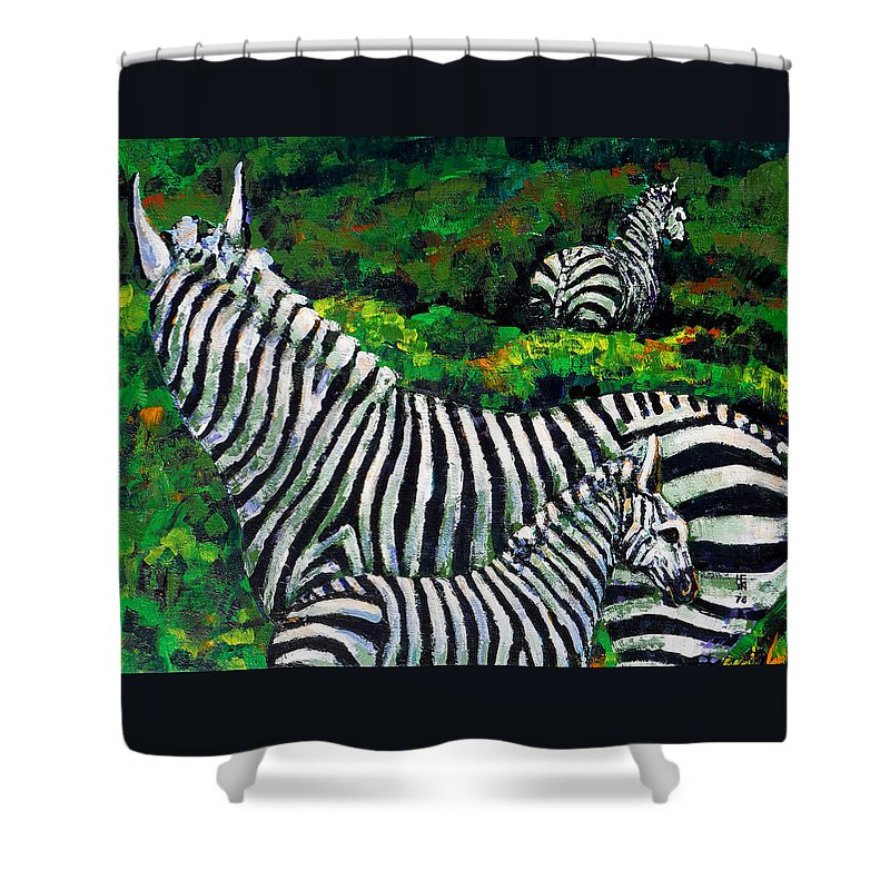 Nature Shower Curtain featuring the painting Zebra Family by Shirley Heyn