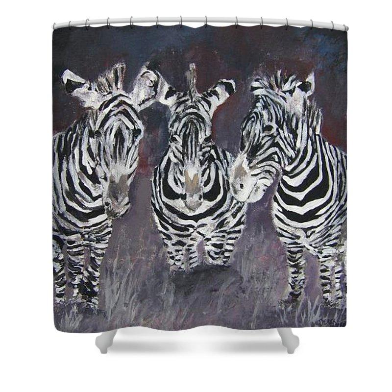 Zebra Shower Curtain featuring the painting Zebra Oil Painting by Derek Mccrea