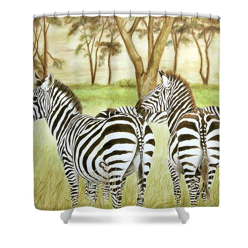 Zebras Shower Curtain featuring the painting Zebra Pals by Elaine Booth-Kallweit
