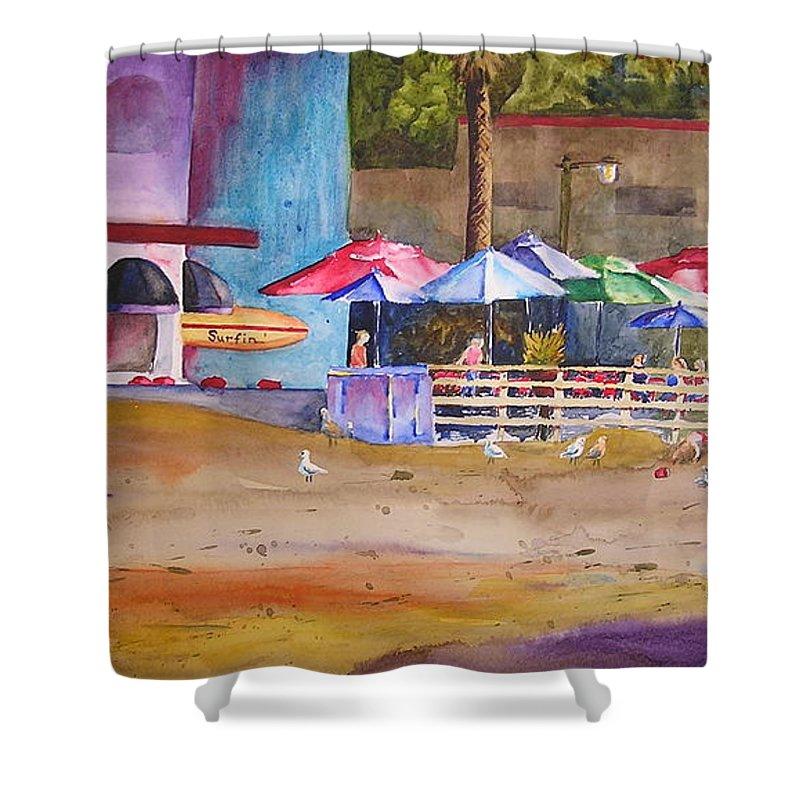 Umbrella Shower Curtain featuring the painting Zelda's Umbrellas by Karen Stark