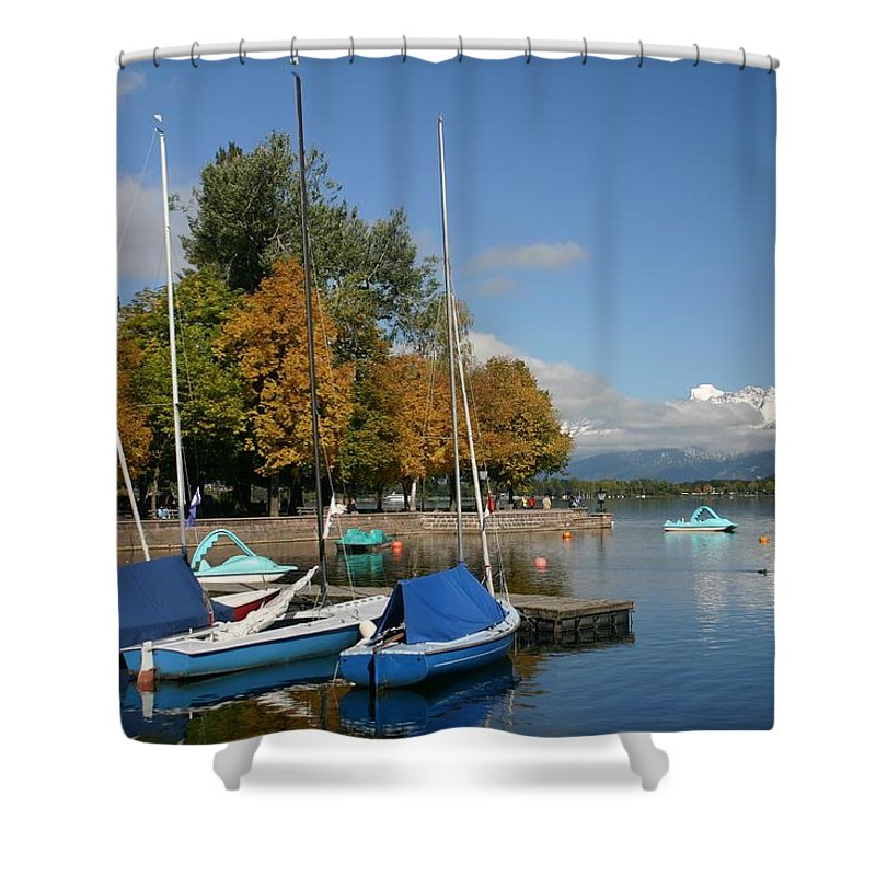 Sail Boats Shower Curtain featuring the photograph Zell Am See The Elements In Austria by Minaz Jantz