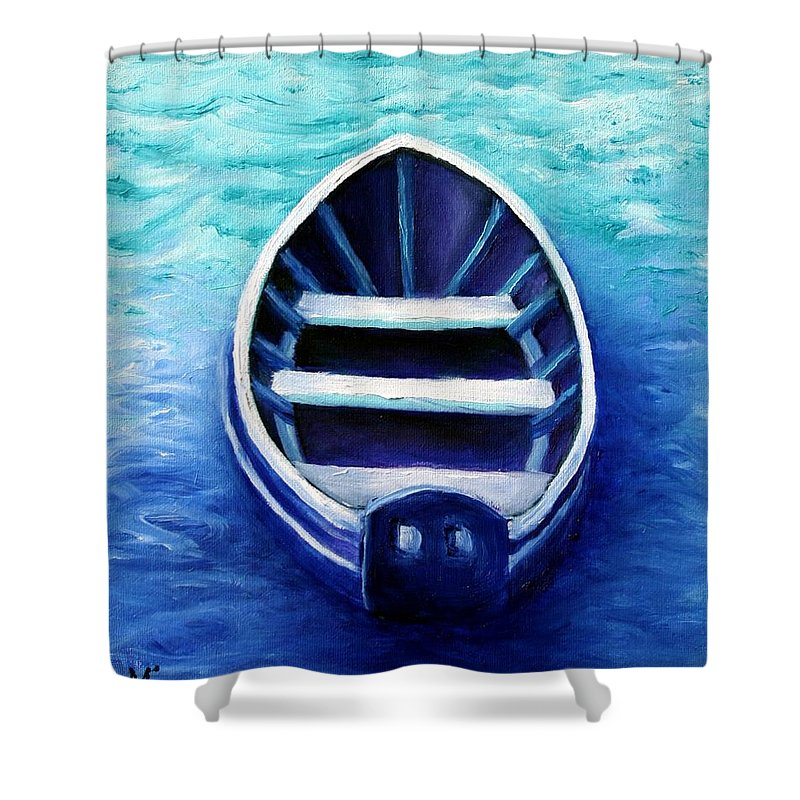 Boat Shower Curtain featuring the painting Zen Boat by Minaz Jantz