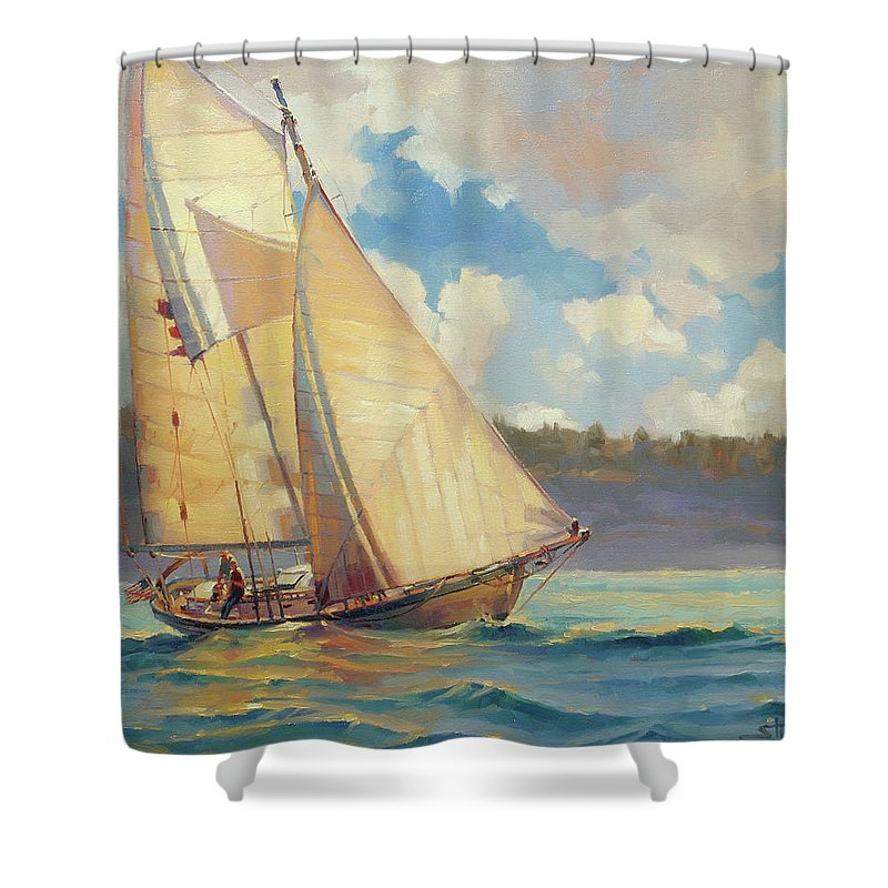 Sailboat Shower Curtain featuring the painting Zephyr by Steve Henderson