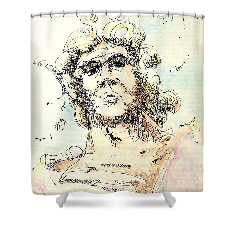 Zeus Shower Curtain featuring the painting Zeus by Dave Martsolf
